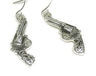 Revolver Gun Earrings - Western Jewelry - Cowgirl - Pistol Earrings - Gun Dangle - Filigree Pistol Earrings - Pistol Jewelry - Military