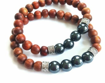 Ethnic, wood,silver and hematite  stackable stretch bracelet-  The Saif
