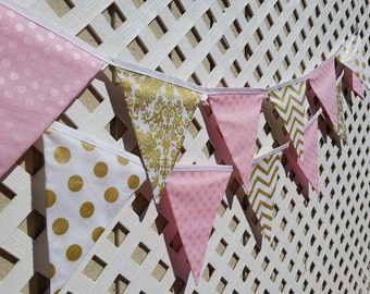 Pink and Gold Birthday Banner, FABRIC First Birhday Metallic Gold Banner Baby Pink GOLD Metallic Banner Baby Shower Baptism Bunting Banner