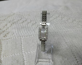Monet Silver tone  Extension Bracelet with Rhinestones and Mother of Pearl