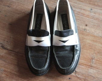 Vintage Black and White Loafer Shoes // 1980s Kenneth Cole Leather Rockabilly Shoes