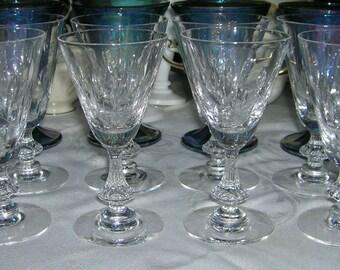 8 Vintage Duncan Miller Fine Crystal Wine Glasses Willow Pattern Circa 1953