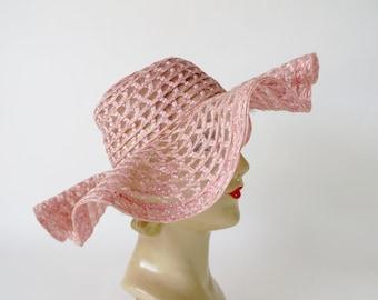 Vintage Pink Hat / Floppy Garden Party Hat