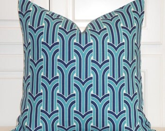 KRAVET - Turquoise and Navy Geometric Decorative Pillow Cover - Toss Pillow - Sofa Pillow - Designer Pillow