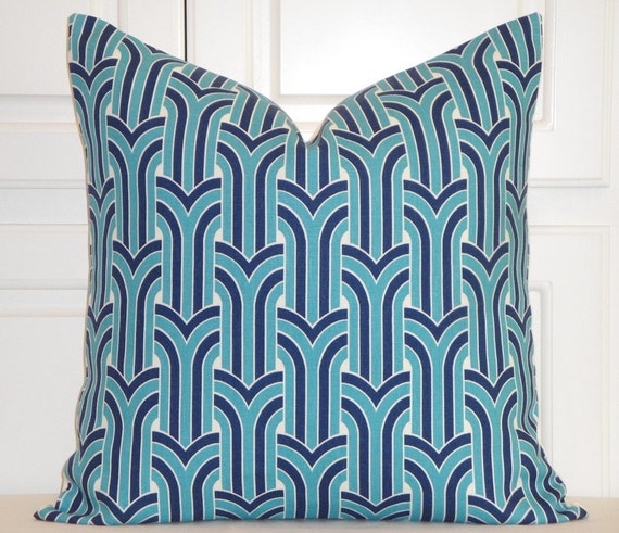 KRAVET Turquoise And Navy Geometric Decorative Pillow Cover