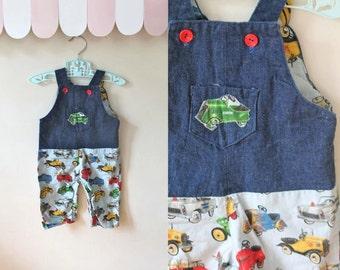 vintage baby boy overalls - TRUCKS novelty print denim overalls / 6-9M