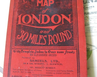 Vintage London Map Book and 30 Miles Around