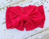 Red Lace Messy Bow Head Wrap