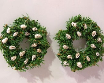 Mini Evergreen Wreaths with Seashells - Pair of Magnets, Ornaments, Beach Holiday Decor
