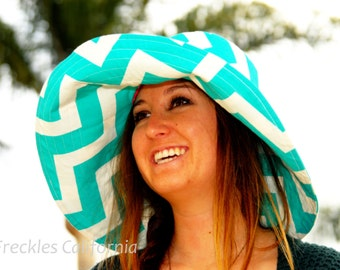 Custom Sun Hat Wide Brim Sun Hat Beach Turquoise Sun Hat Wide Brim Womens Sun Hat  Freckles California