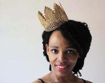 "Gold Lace Crown - ""Large Floret"" - fairytale, royalty, birthday crown, bridal crown, bachelorette party"