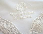 Wedding Handkerchief: Cream Color German Plauen Lace Handkerchief Style No. 40735 with Monogram/Title/Date