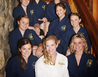 9 White and Navy Robes Personalized Wedding Spa Robes Bridesmaids Gifts Front embroidery included on all robes