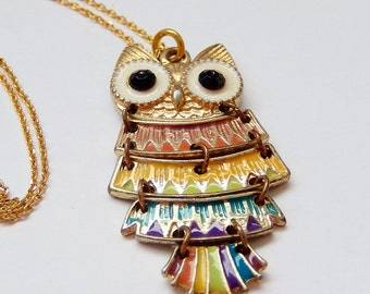 Small Owl Necklace, Vintage Hinged Necklace, Colorful Owl, Gift for Her