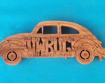 Vintage Volkswagen VW Love Bug Beetle Wooden Scroll Saw Puzzle