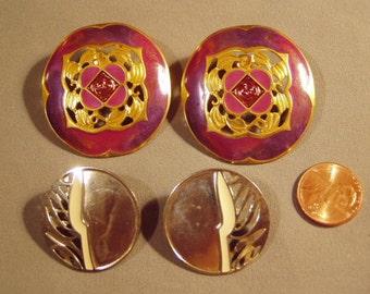 Vintage 1980s 2 Pairs Earrings Berebi Signed Violet Enamel Clip Earrings Silver Tone Pierced 8075
