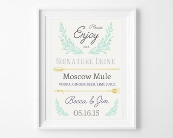 Signature drink sign, wedding cocktail sign, arrows and leaves, wedding sign, DIGITAL DOWNLOAD