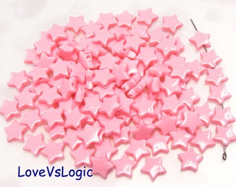 60 Star Acrylic Beads.Dark Pink