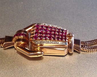 Sale! RARE 14k Rose Gold RUBY DIAMOND Covered  Paul Ditisheim Concealed Watch Bracelet  -  6 1/2 - 6 3/4