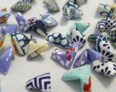 60 Blue Themed Traditional Japanese Washi Chiyogami Origami Lucky Hearts - custom order available