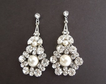 Ivory swarovski Pearls Bridal rhinestone Earrings Bridal Pearl Earrings Statement Bridal Earrings Stud Earrings Swarovski crystal EUGENIE