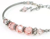 Romantic Jewelry Pink Bracelet Adjustable Bangle Vintage Inspired Antique Silver and Rose Pink Jewelry Memory Wire Bracelet Beaded Jewelry