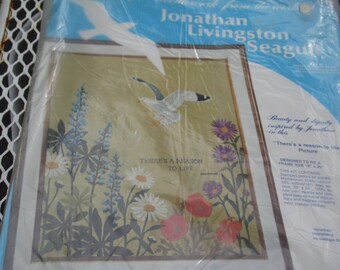 Jonathan Livingston Seagull 1973 Needlework Kit NOS New old stock unopened by Paragon Needlecraft # 0884 There's a Reason to Life 1973