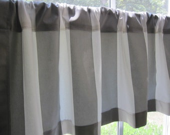 Curtain, Valance, Window Curtain, Gray and White Cabana Stripe Curtain Valance 50 x 16