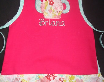 PERSONALIZED Girls Apron- Childs Play Apron -Cooking Apron- Hot Pink, Aqua and Light Pink with Teapot Design