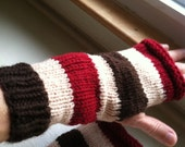 Hand Knit Women's Striped Hand Warmers - Fingerless Gloves - Warm and Soft - Dark Red  and Brown Spripes