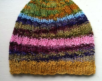 Hand Knit Beanie, Cute And Unique Hand Knit Wool Hat Multicolor