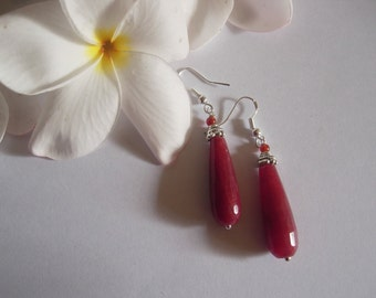 Beautiful Natural Red Jade drop earrings with Carnelian beads