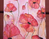 Original Dancing Poppies Watercolors on 7x10 paper floral red gold Abstract