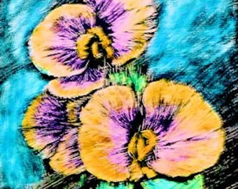 ACEO Yellow Scratch Board Pansys, Scratchboard Art, Colored Pencil on Black Scratch Board, Floral ACEO