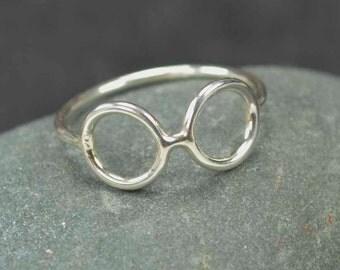 Sterling Glasses Ring Geek Silver 925
