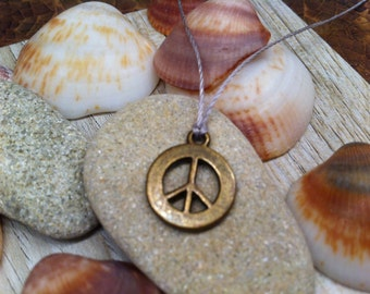PEACE sign SYMBOL Charm necklace Delicate Subtle jewelry Unique Teen Girl youthful jewelry