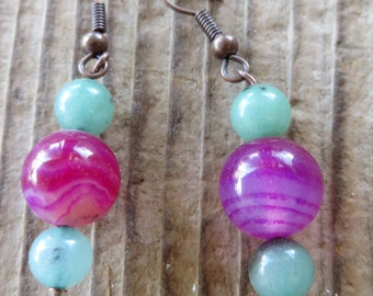 Pink Striped Agate and Light Aventurine Beaded Drop Earrings