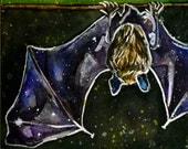 Watercolour Bat painting - Batty