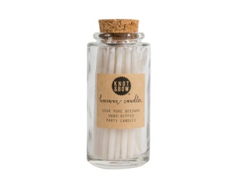 New Lower Price! Hand-dipped Beeswax Birthday Candle Jar / Ivory