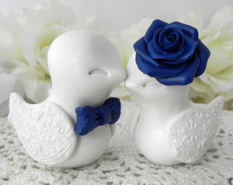 Wedding Cake Topper - Love Birds - Ivory and Navy Blue - Bride and Groom Keepsake - Fully Customizable