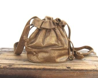Bronze Drawstring DKNY Small Cross Body Leather Bag