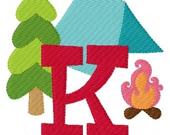 Camping Machine Embroidery Monogram Font Set, Campout Embroidery Design, Tent Embroidery, Campfire Embroidery Design // Joyful Stitches