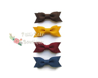 First Thanksgiving Infant Hair Bows/Itty Bitty Bows for Newborn/Infant Hairbows/Baby Girl Tiny Bows for Fall/Tiny Hair Clips with Bows