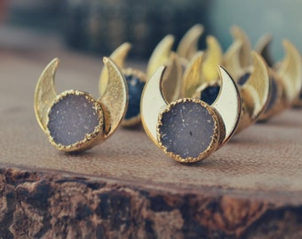 BABY MOONBEAMS ///  Moon Druzy Earrings ///  Electroformed 24K Gold Studs