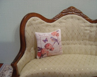 Dollhouse Bird throw pillow French Country miniature 1:12 Scale