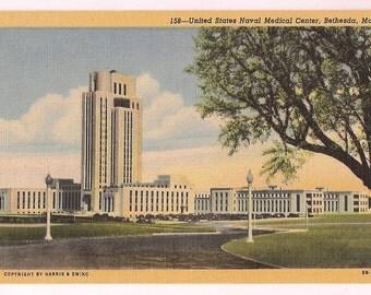 Bethesda Maryland United States Naval Medical Center - Vintage Linen Postcard Maryland Souvenir - Navy Memorabilia
