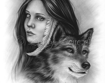 Connected Souls Wolf Native Indian Female Emo Art Print Glossy Zindy Nielsen