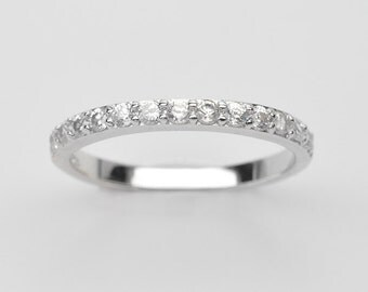 Handmade Natural Gemstone Jewelry, Genuine White Cubic Zirconia Sterling Silver Ring   FD5A0010  RIS-CUB018