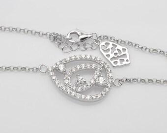 Handmade Jewelry, White Cubic Zirconia Sterling Silver Bracelet  FD5C0245 BR-CUB008