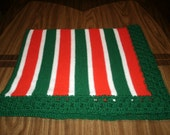 Knit Red & Green Baby Blanket / Afghan / Lapghan With Crochet Trim